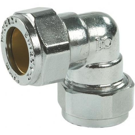 28mm compression chrome elbow 90º fitting (Bag of 5=£33.75)